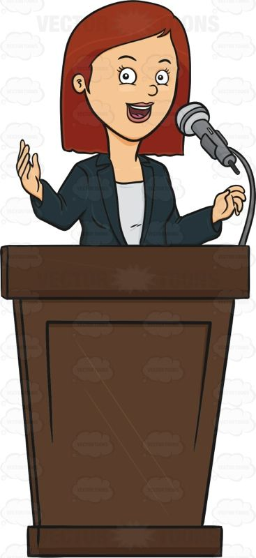 Woman Standing Behind A Podium Giving A Lecture Vector