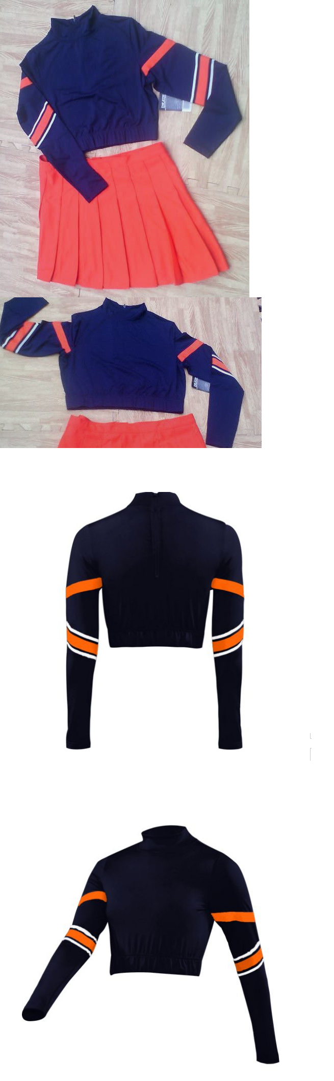 cf0954e5875 Cheerleading 66832  Adult Xl 16 18 Navy Orange Cheerleader Uniform Crop Top  Skirt 41-