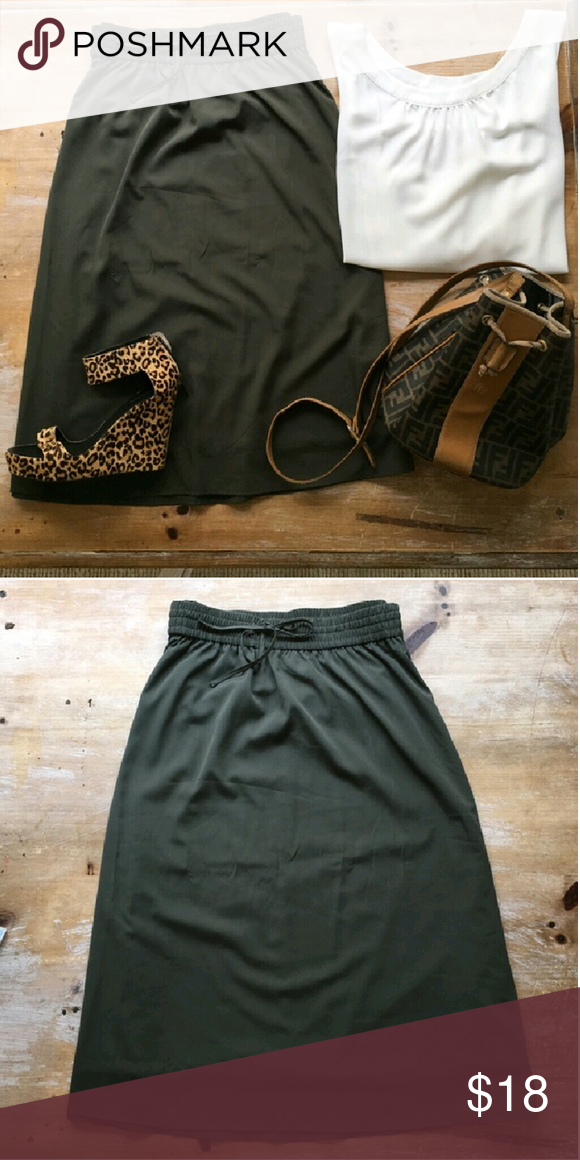 Olive Green Midi Good pre-loved condition  Lined skirt  Elastic waist  Great with a white top and a pair of heels Old Navy Skirts Midi