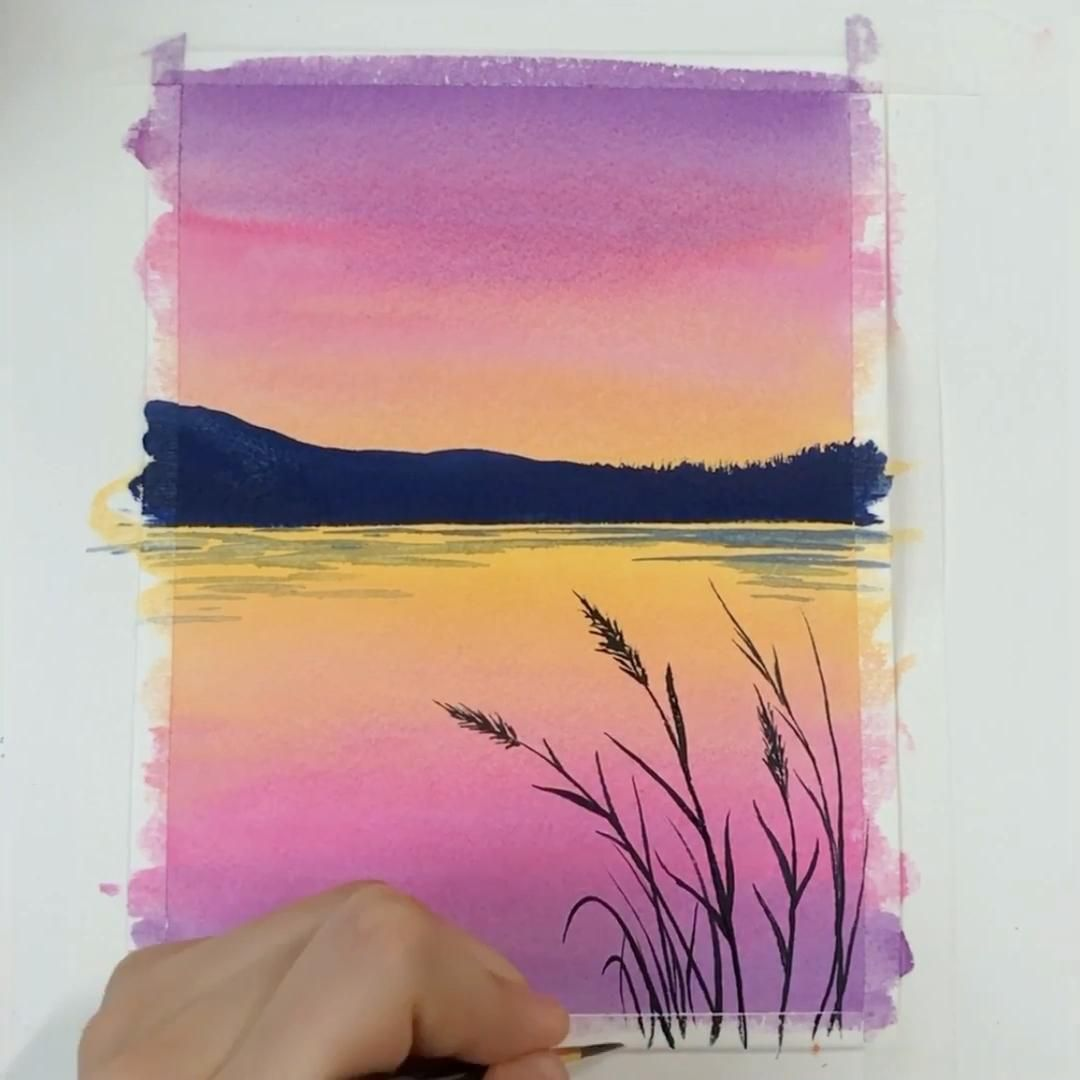 Simple Sunset Watercolor Painting For Beginners Video In 2020 Watercolor Beginner Watercolor Paintings For Beginners Watercolor Landscape
