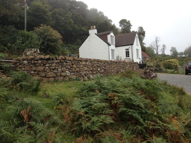 newly finished dry stane wall