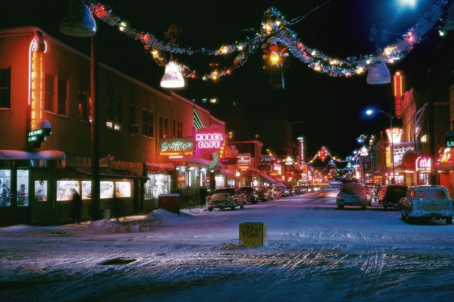 Second Avenue, the main business street in Fairbanks, Alaska, with ...