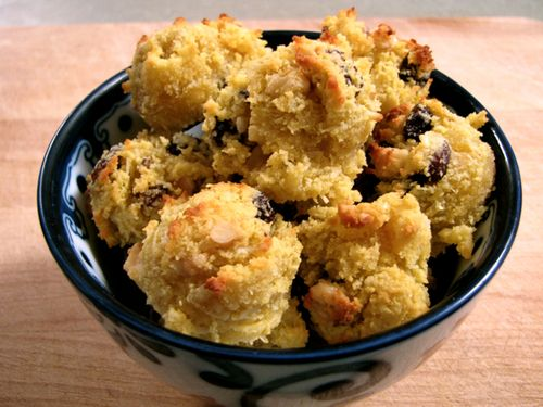 Easy Almond Cookies      2 eggs     1/2 cup softened unrefined coconut oil     1/3 cup raw honey or other sweetner     1 tablespoon vanilla extract –OR– 1 teaspoon vanilla extract plus 1 teaspoon almond extract     1/2 teaspoon sea salt     2-3/4 to 3 cups Blanched Almond Flour     1/2 cup chopped crispy walnuts     1/2 cup unsweetened shredded coconut     1/2 cup raisins or other dried fruit (chopped) comfortspringstation.tumblr.com