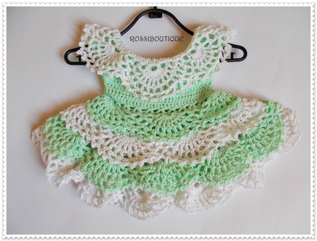 Crochet Baby Dress, Newborn dress, green baby dress, Baby headband ...