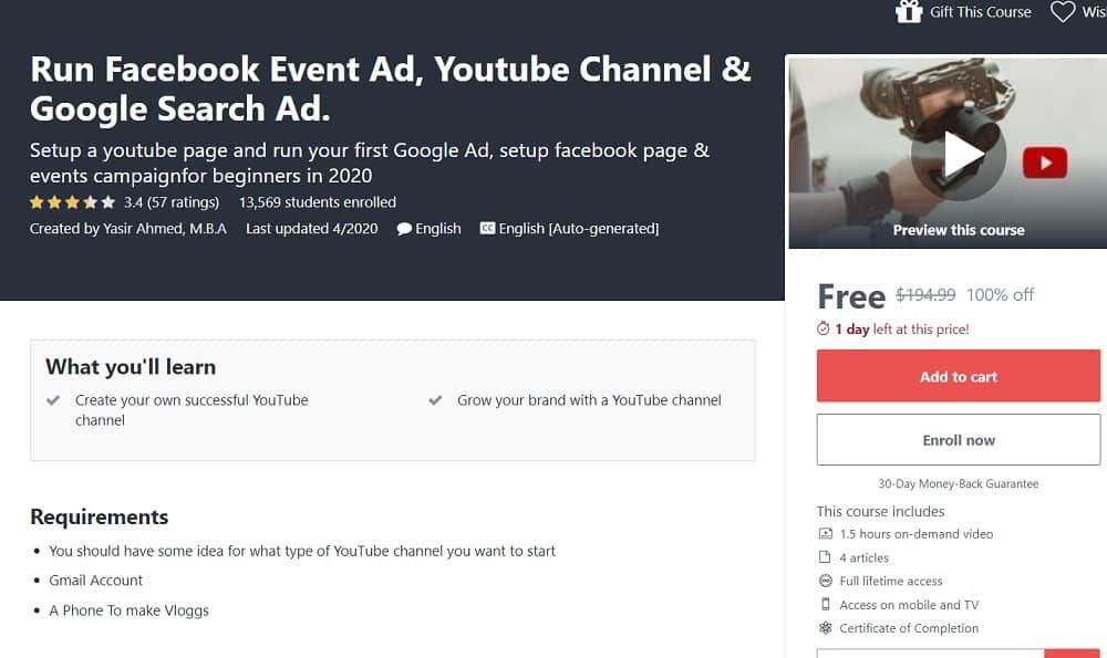 Run Facebook Event Ad Youtube Channel Google Search Ad in