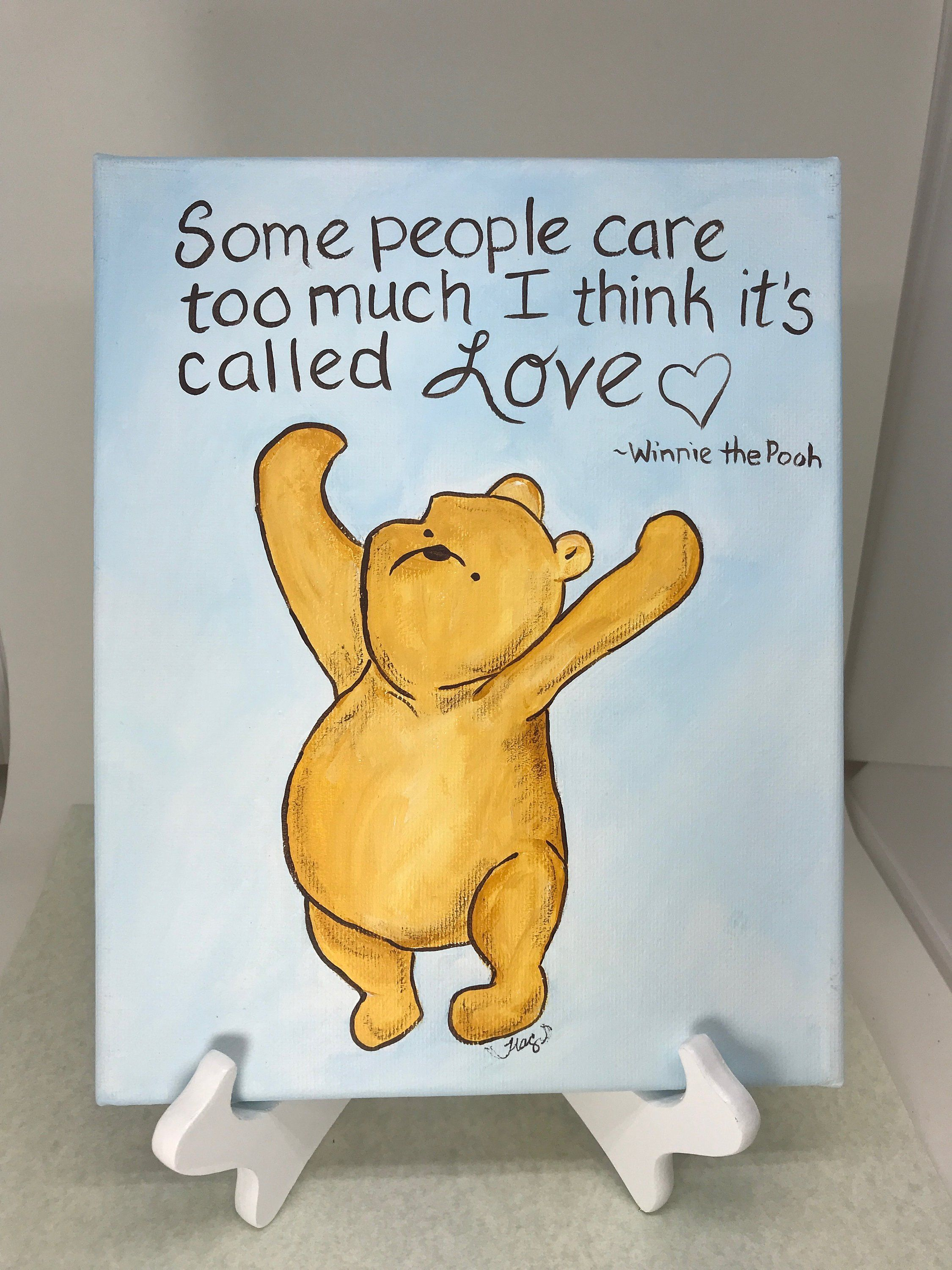 Classic Winnie The Pooh Painted Canvas With Quote About Love Classic Pooh Quote Art By Moonbeamsbeardreams Winnie The Pooh Winnie The Pooh Quotes Pooh Quotes