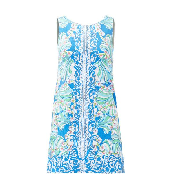 Rental Lilly Pulitzer Blue Shell Shift (€35) ❤ liked on Polyvore featuring dresses, exposed zipper dress, sleeveless shift dress, lilly pulitzer dresses, blue dress and blue sleeveless dress