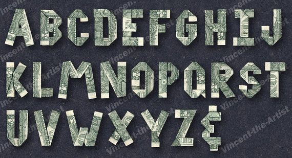Dollar Origami Alphabet Letter Made From Real Money Paper