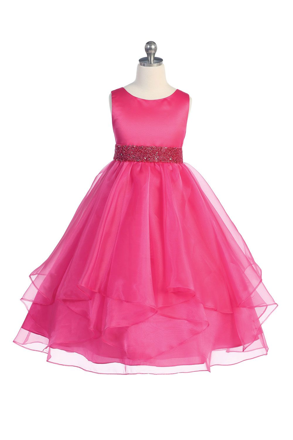 738561ebd9e6 Fuchsia Satin and Organza Layered Flower Girl Dress