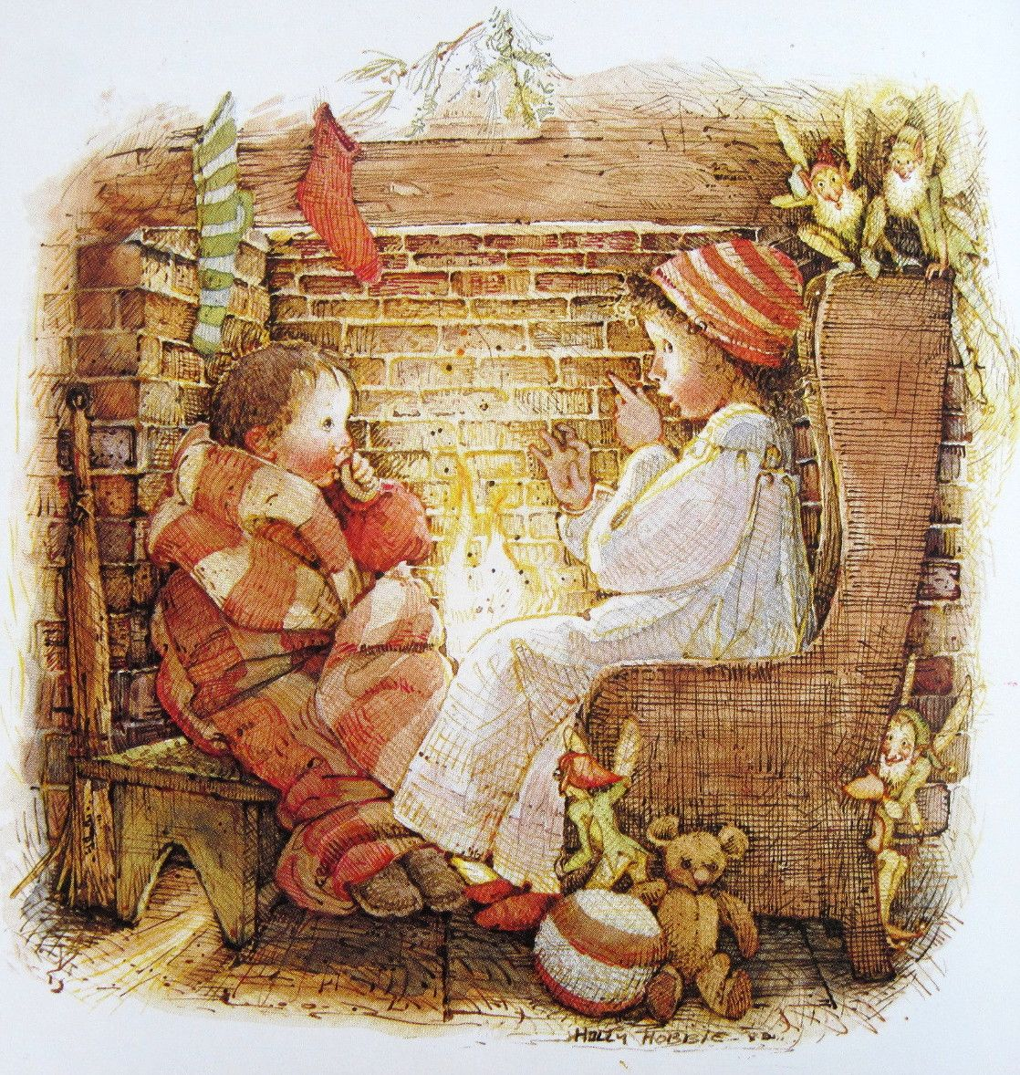 The Art of Holly Hobbie - The huge fireplace at the heart of the home made the perfect setting for a Christmas Eve illustration.                                                               Kaiya and Silas