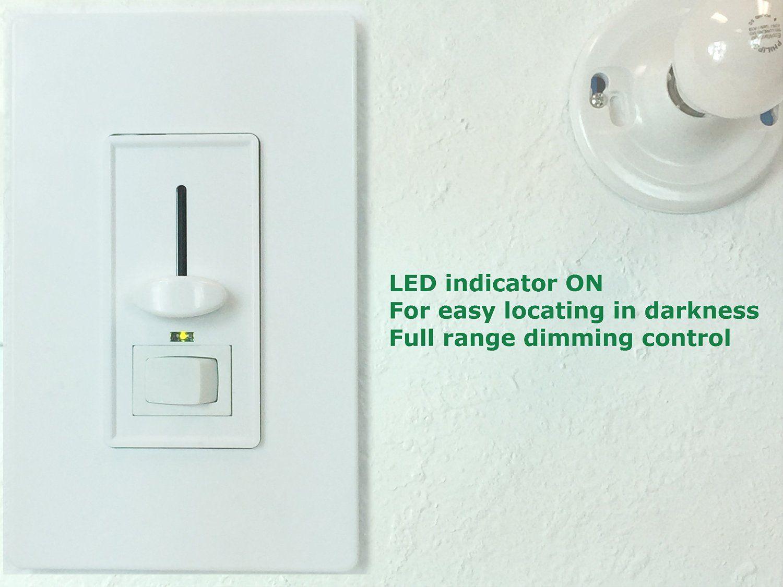 Enerlites 50321 W Lighting Control Incandescent Halogen Dimmer 3 Way Light Switch Plate 700w