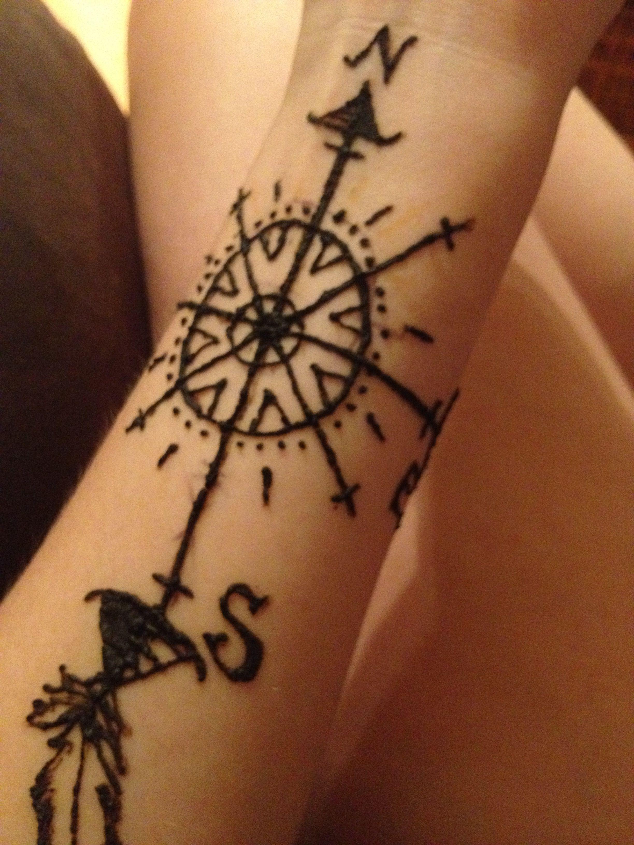 f7ca258463892 Henna compass tattoo | Summer henna!! | Tattoos, Arrow tattoos, Cool ...