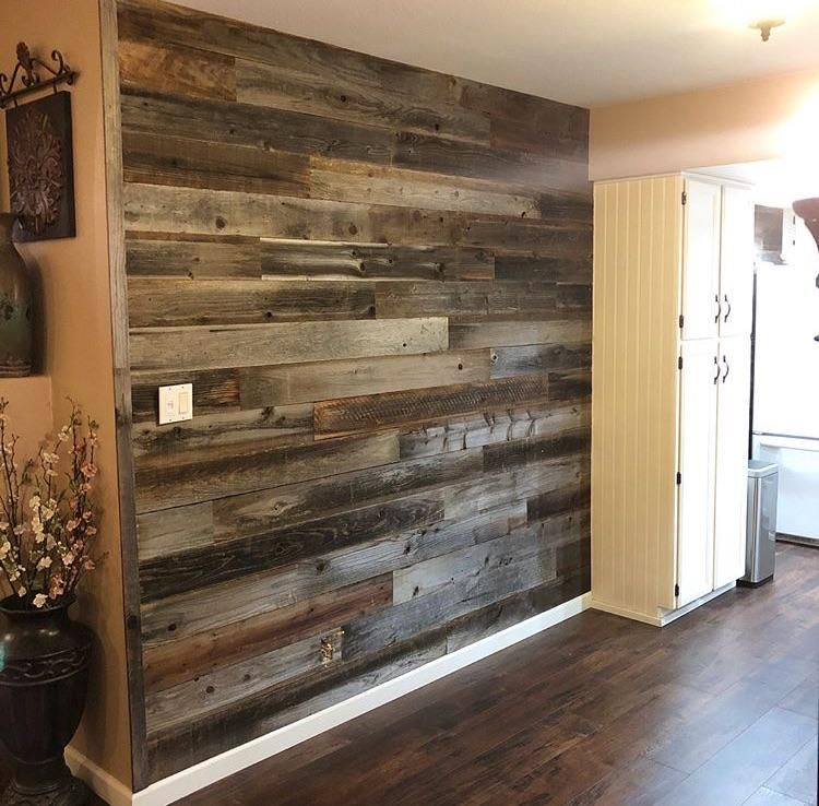 Accent Pallets Planks On A Painted Wall: Reclaimed Barn Wood Wall Plank In 2020
