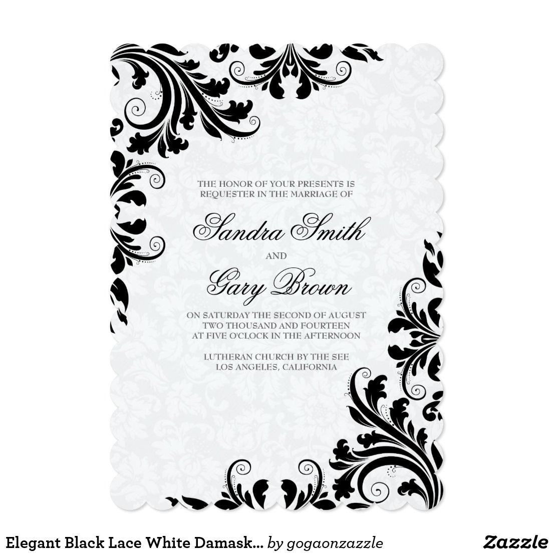 Elegant Black Lace White Damasks Wedding Invite Damask Wedding And