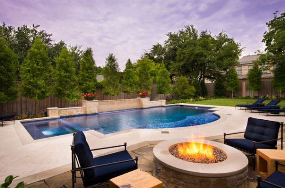 Swimming pool with hardscape and landscape ideas cool for Pool design company