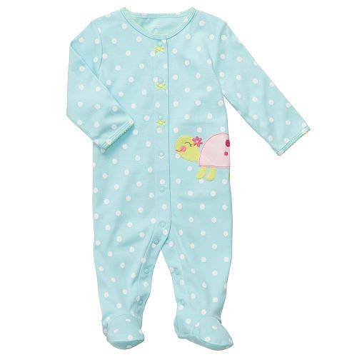 Carter S Girl Dot Sleep N Play With Turtle Applique Carters