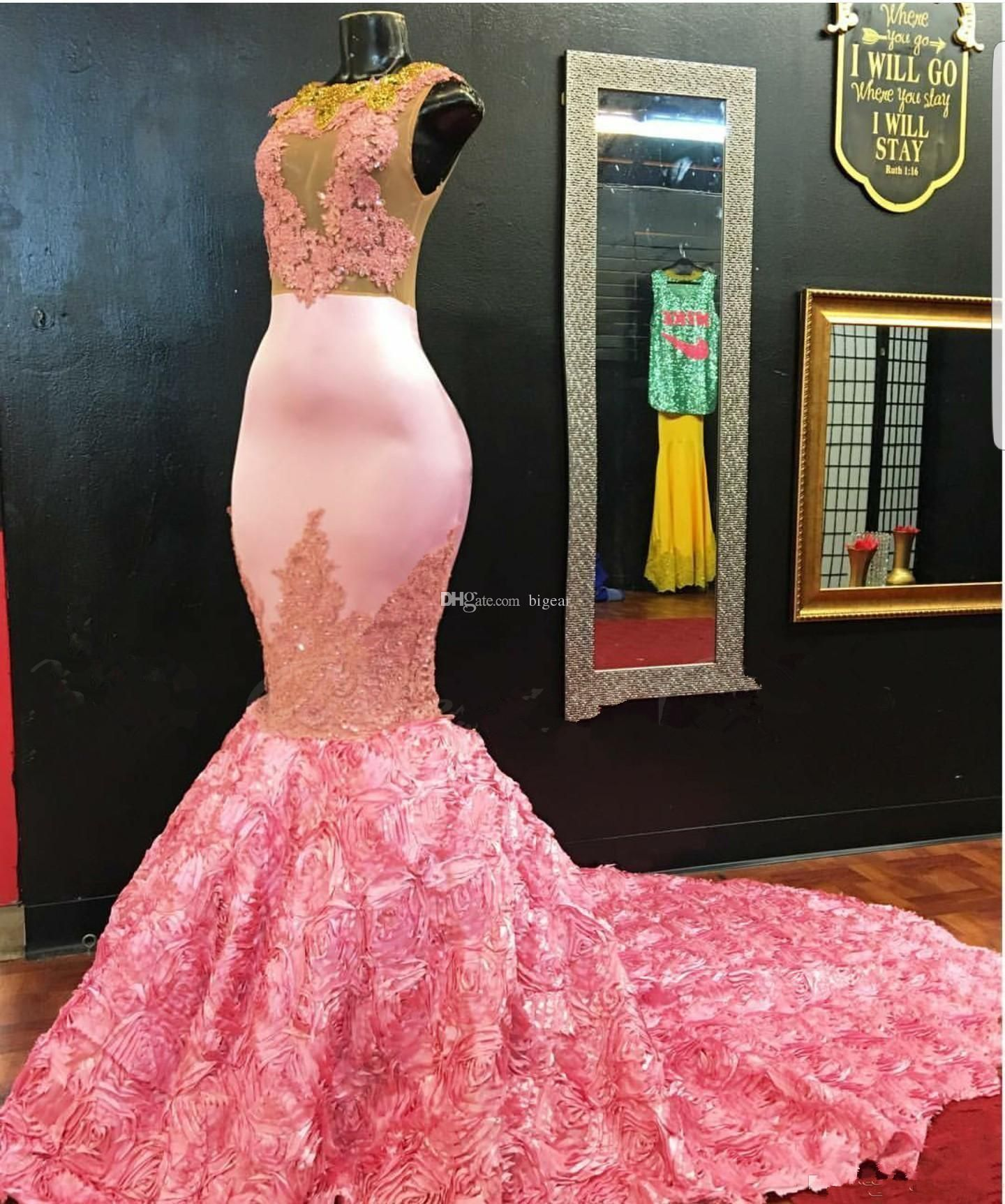 Pink Mermaid Prom Dress with 3D Floral Skirt | Vestido de gala y ...