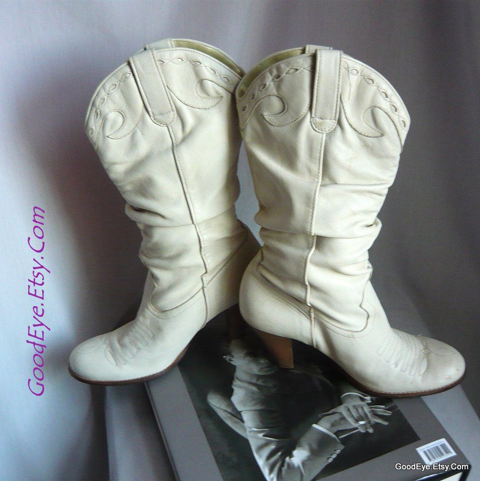 32b85dabacc8 Vintage Leather Dingo Slouch Boots size 7 b Eur 37 .5 UK 4 .5 WESTERN  Chunky High Heels Riding Winter WHITE Brazil by GoodEye on Etsy