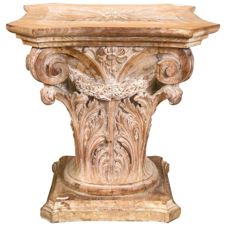 Wooden Corinthian Column Form Table Base 1