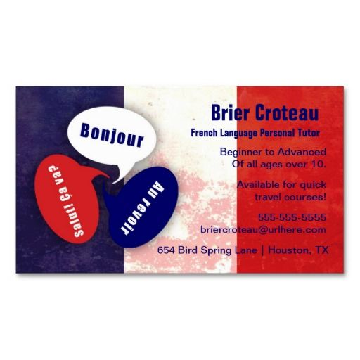 make a terrific first impression with this french language tutor business card customise this design as your own just in minutes
