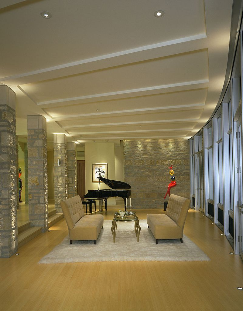 fabulous home lighting design home lighting. Fabulous Family Room With Stone Walls And In-floor Lighting [Design: Deep River Home Design L