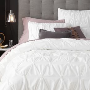 Organic Cotton Pintuck Duvet Cover + Shams - White #West Elm