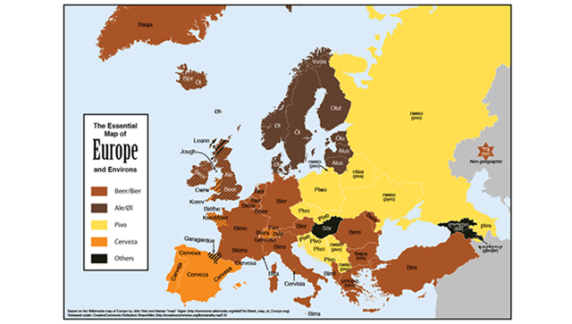 """Here's a handy map of how you say """"beer"""" in every European country"""