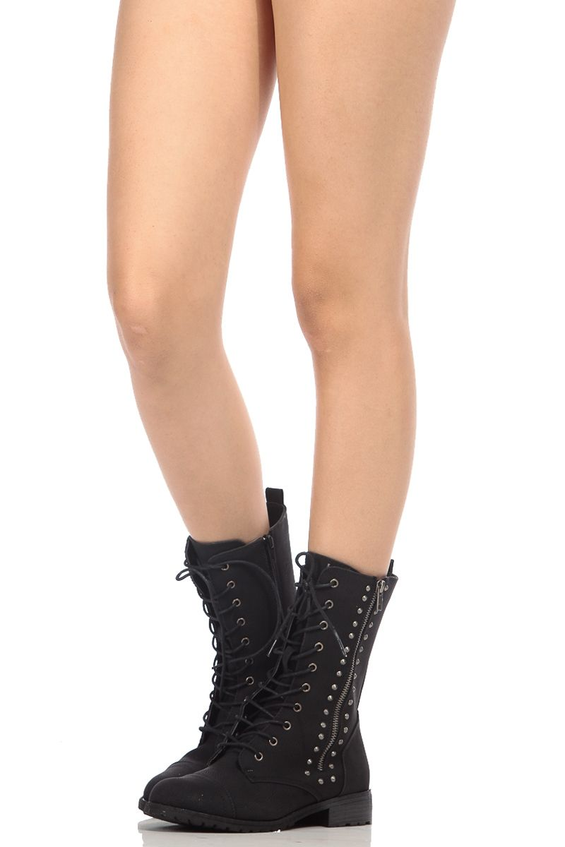 3e0fb5df9225 Black Faux Nubuck Spiked Lace Up Combat Boots   Cicihot Boots Catalog women s  winter boots