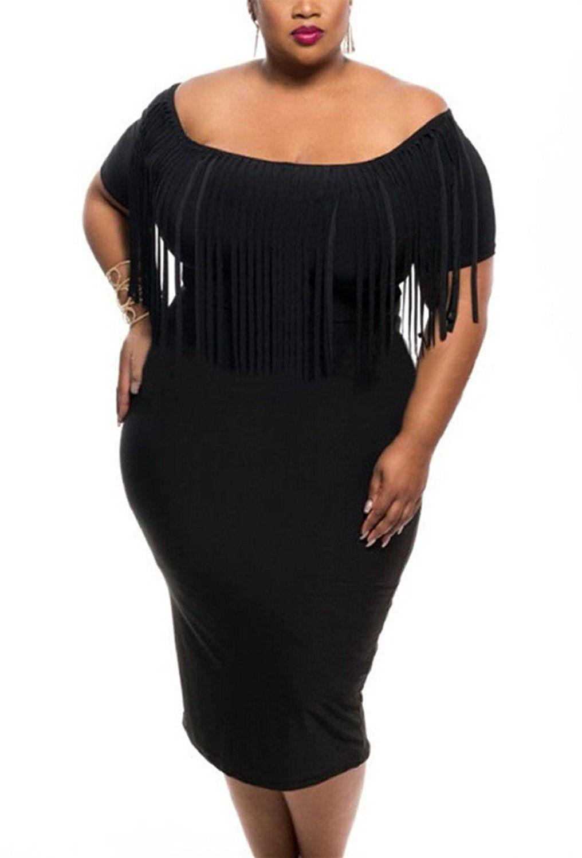 hayess bodycon short sleeve fringe top plus size dress * check