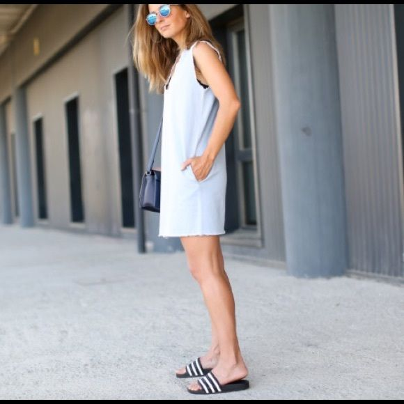 Adidas Adilette white/blue slides