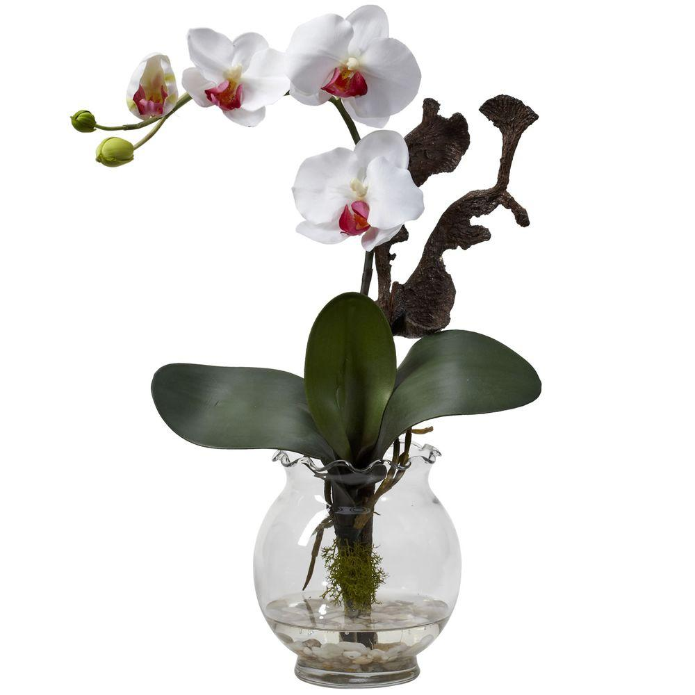 Nearly Natural 15 In H White Mini Phalaenopsis With Fluted Vase Silk Flower Arrangement 1277 Wh The Home Depot Flower Vase Arrangements Silk Flower Arrangements Fluted Vase