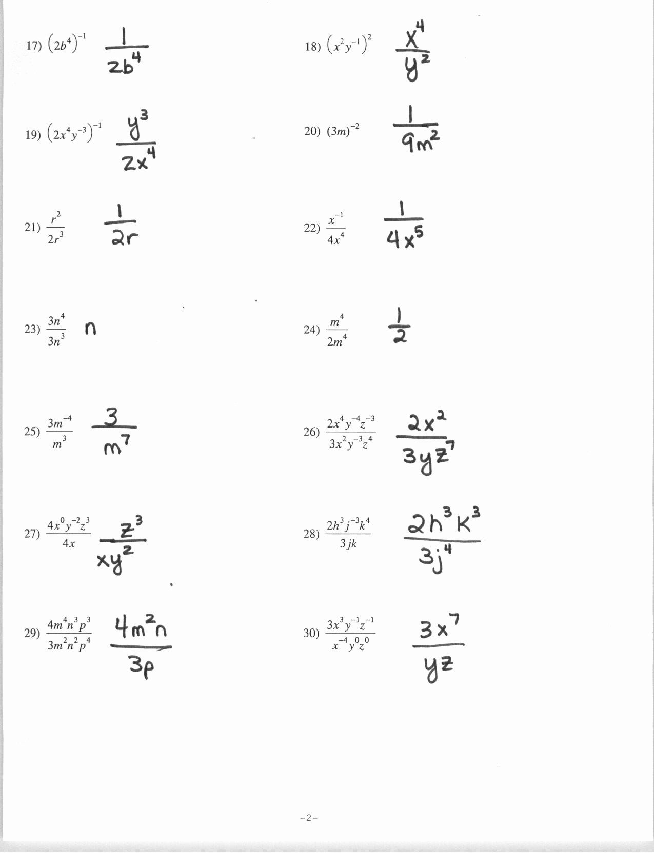 Negative Exponents Worksheet Pdf Awesome Exponents Worksheet Grade 7 Pdf Exponent Worksheets Rational Expressions Simplifying Radicals