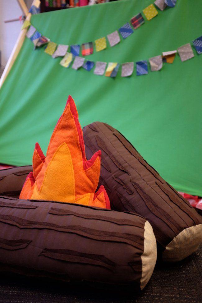 adorable Campfire and Log Pillow Set