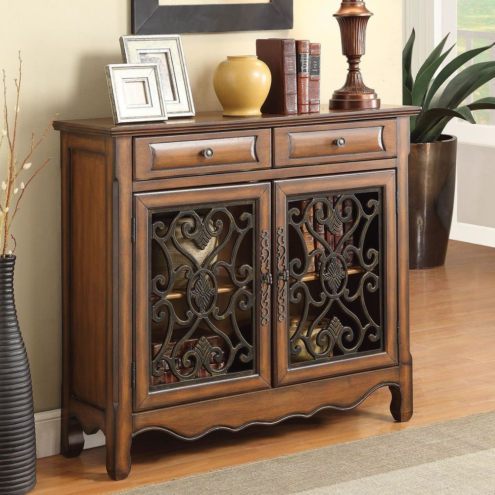 Console storage cabinet accent chest drawer wood living room