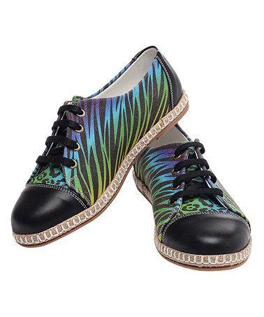 Look what I found on #zulily! Green & Blue Tiger Stripe Oxford-Style Espadrille #zulilyfinds