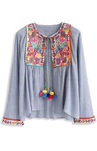 911acccacdd8 Folksy Color Embroidered Jacket with Pom Pom - Embroidery Design - Trend  and Style - Retro