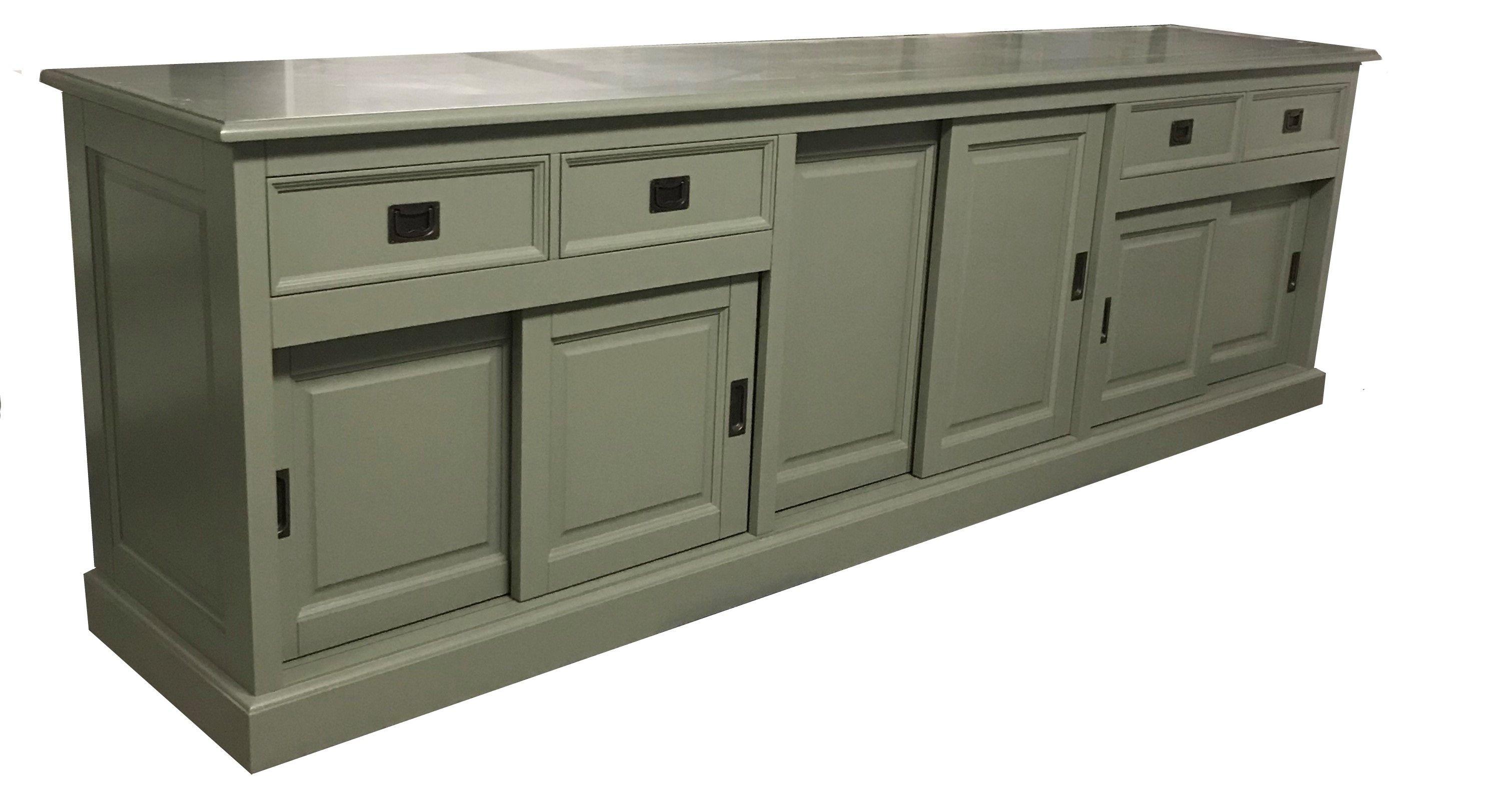 Hedendaags Klassiek groot dressoir in het Engels groen 285cm breed. De luxe MF-42