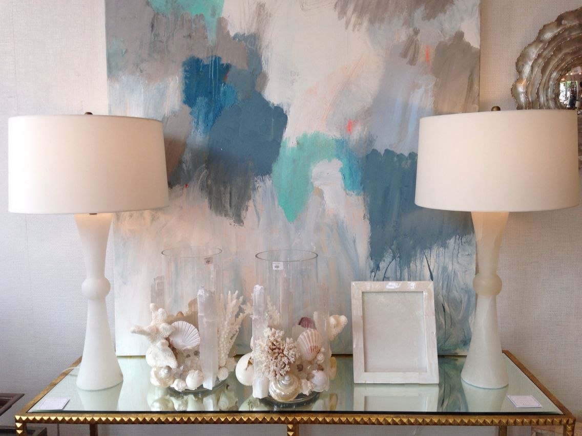 Crisp white and calming blue hues #pimlicohome and Painting by Kerri Rosenthal