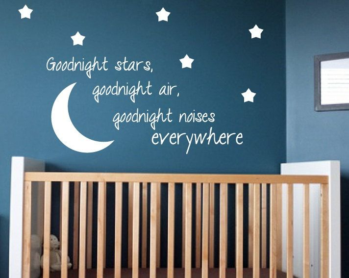 Quote Wall Stickers For Nursery : Kids room wall decal goodnight moon quote nursery decor