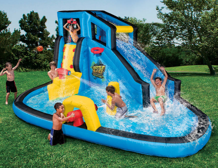 Flexible Flyer Metal Swingset Only 99 Reg 199 Inflatable Water Park Inflatable Water Slide Backyard Water Parks