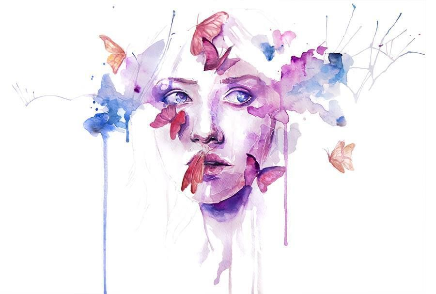 Watercolor Woman Portrait Face Drip Splash Splatter Ink Spill