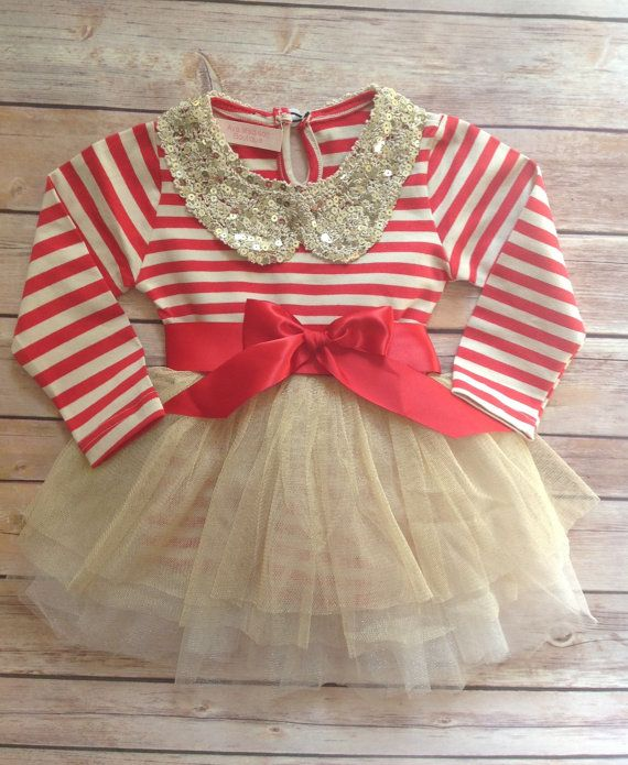 Red Gold Toddler Baby Girl Dress Birthday Outfit Girl