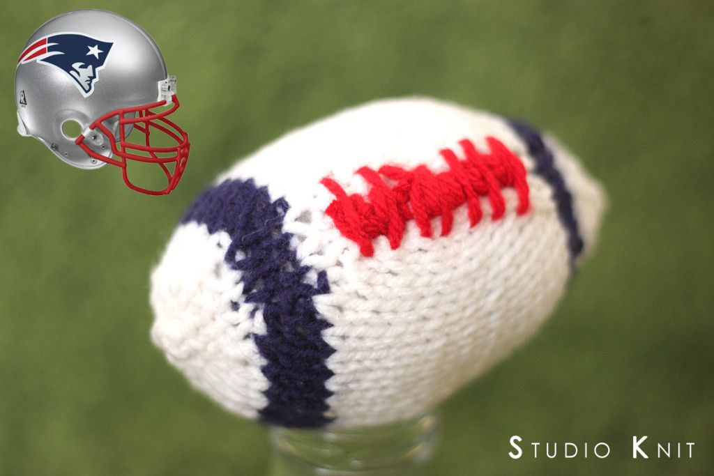 New England Patriots Knitted Football. Football Softie Knitting Pattern & Video Tutorial by Studio Knit. Coming in time for Super Bowl XLIX 2015.