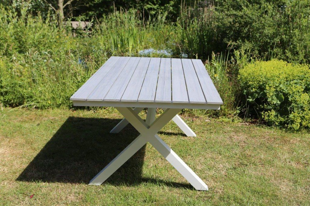 Gartentisch Destiny Esstisch Bellview 160x90 cm Tisch Alu Weiß Alutisch