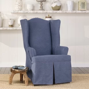 Sure Fit Soft Suede T-Cushion Wingback Slipcover ...