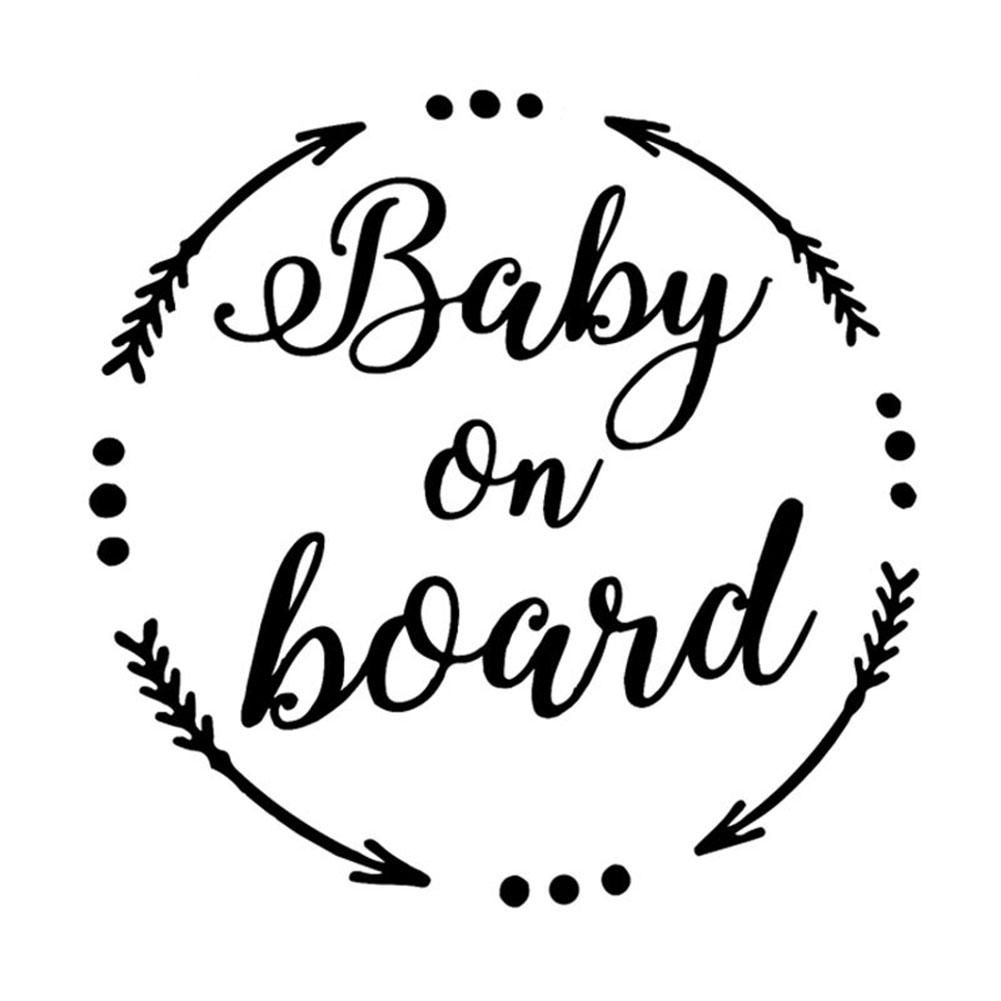 BABY ON BOARD Letter Reflective Warning Car Auto Sticker Decoration Gift – Black
