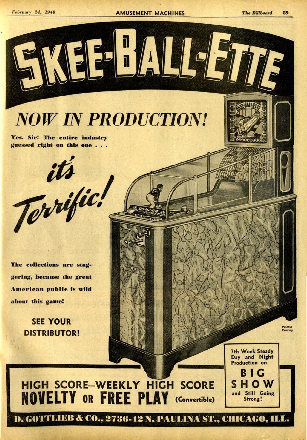 Gottlieb SkeeBallEtte 1940 Skee ball, Arcade video