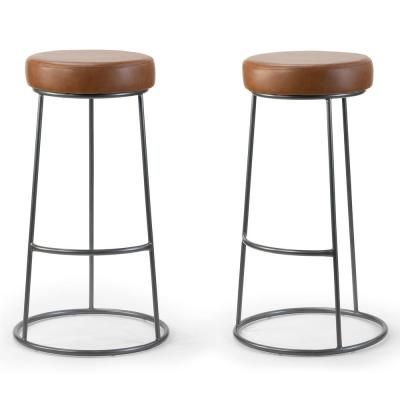 Glamour Home Set Of 2 Amie Brown Backless Bar Stool With Gunmetal