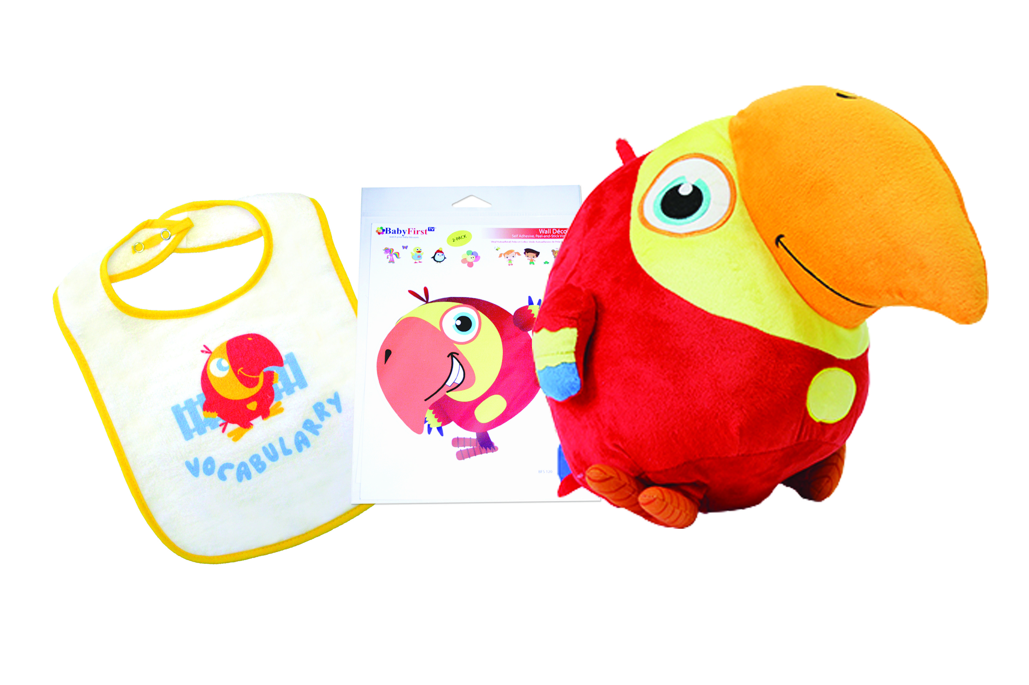 If you love VocabuLarry, you'll love the VocabuLarry Collection!! Get the plush toy, Larry Decal, and Bib... all together for a discounted price!!  This set makes a great birthday gift for any little boy or girl.