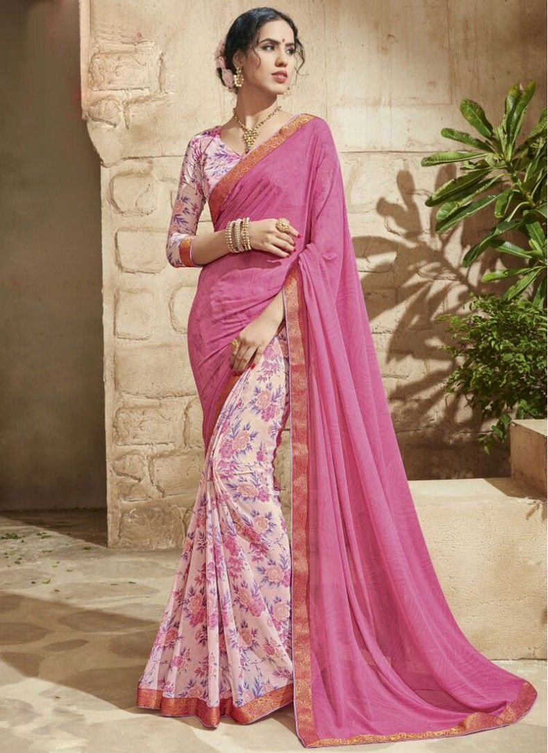 Faux Georgette Pink Colored Classic Printed Saree
